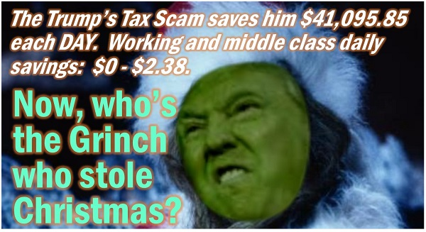 Indivisible RI Rhode Island, Grinch Trump Who Stole Christmas, Trump Tax Scan